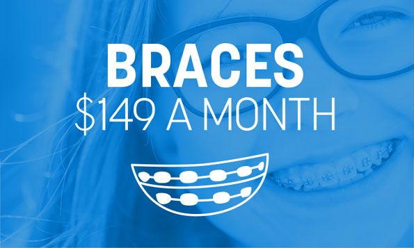 A young girl smiles and shows off her braces beneath a special offer on braces at Lovett Dental in Gulfgate