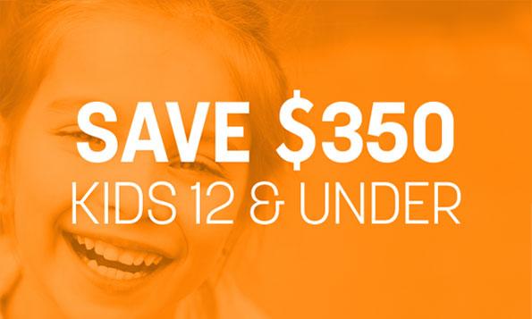 A little girl smiles and laughs beneath a special offer on Lovett Dental Gulfgate's children's program