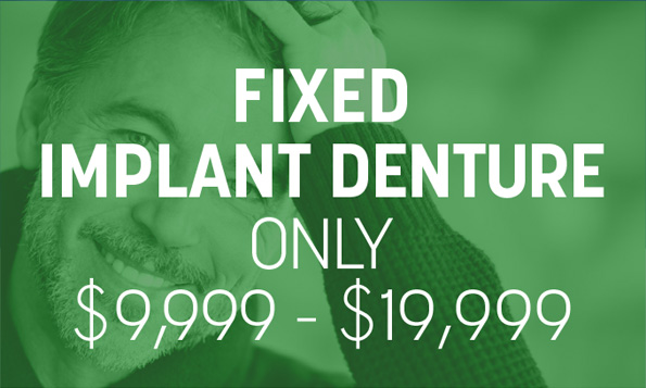 A man smiles happily beneath a special offer on Lovett Dental Gulfgate's fixed implant dentures