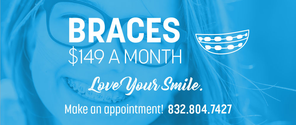 A young girl with braces smiles under a special offer on braces at Lovett Dental Gulfgate